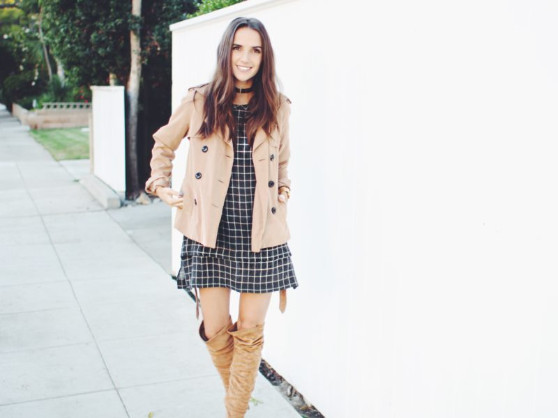 Fresh outfit idea for Fall! Chequered Dress and Knee-High Boots