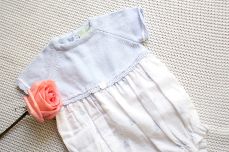 Newborn Outfit Idea: Knit and Cotton Marine Onesie by Wedoble