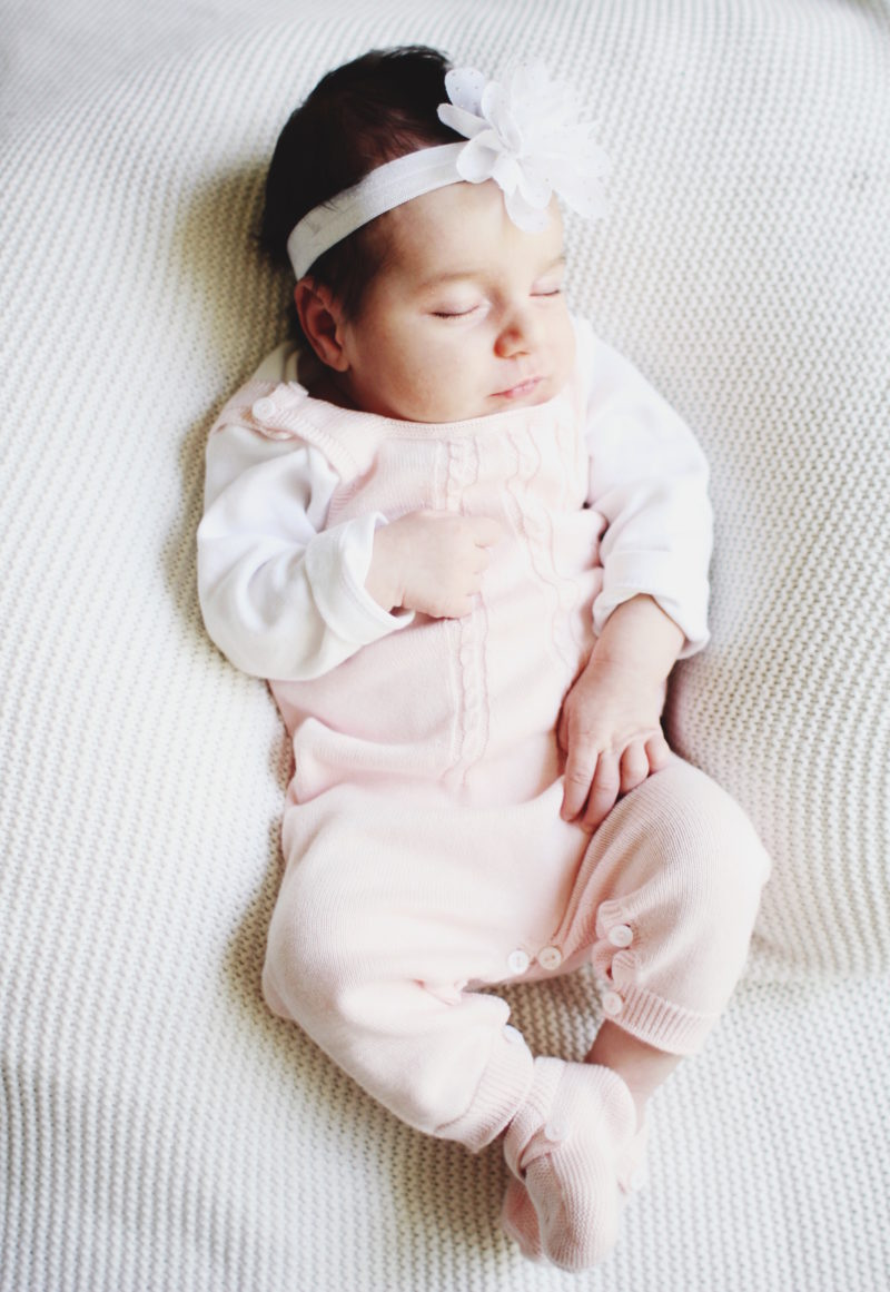 Newborn Outfit Idea: Pink knitted overalls by Wedoble