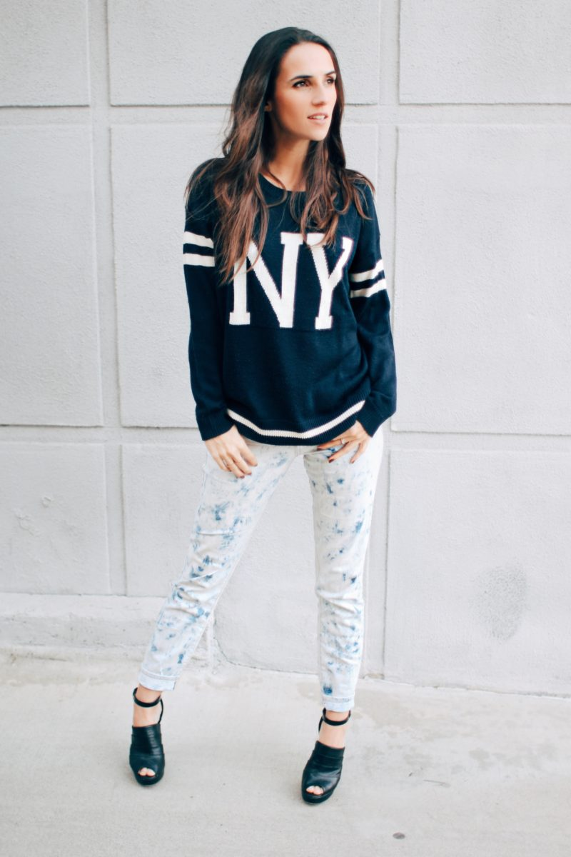 NY Sweater and Acid Wash Jeans