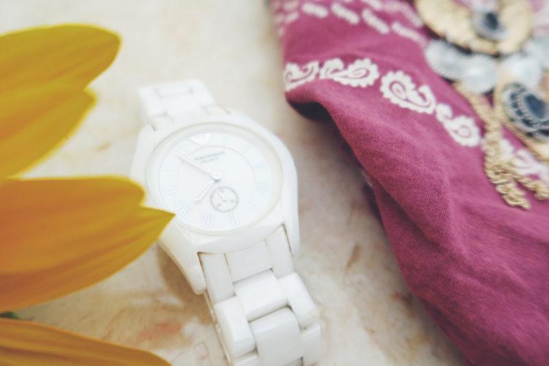 White Armani Watch - thecasualfree.com