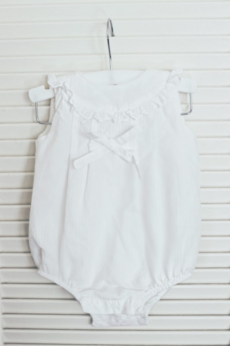 Cute White Baby Romper by Laranjinha - thecasualfree.com