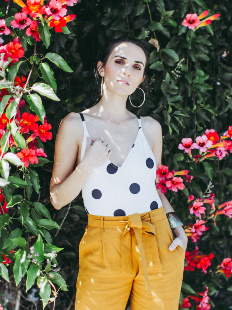 Spring Outfit Idea: Polka Dots and Mustard Pants. By Ana Free on thecasualfree.com