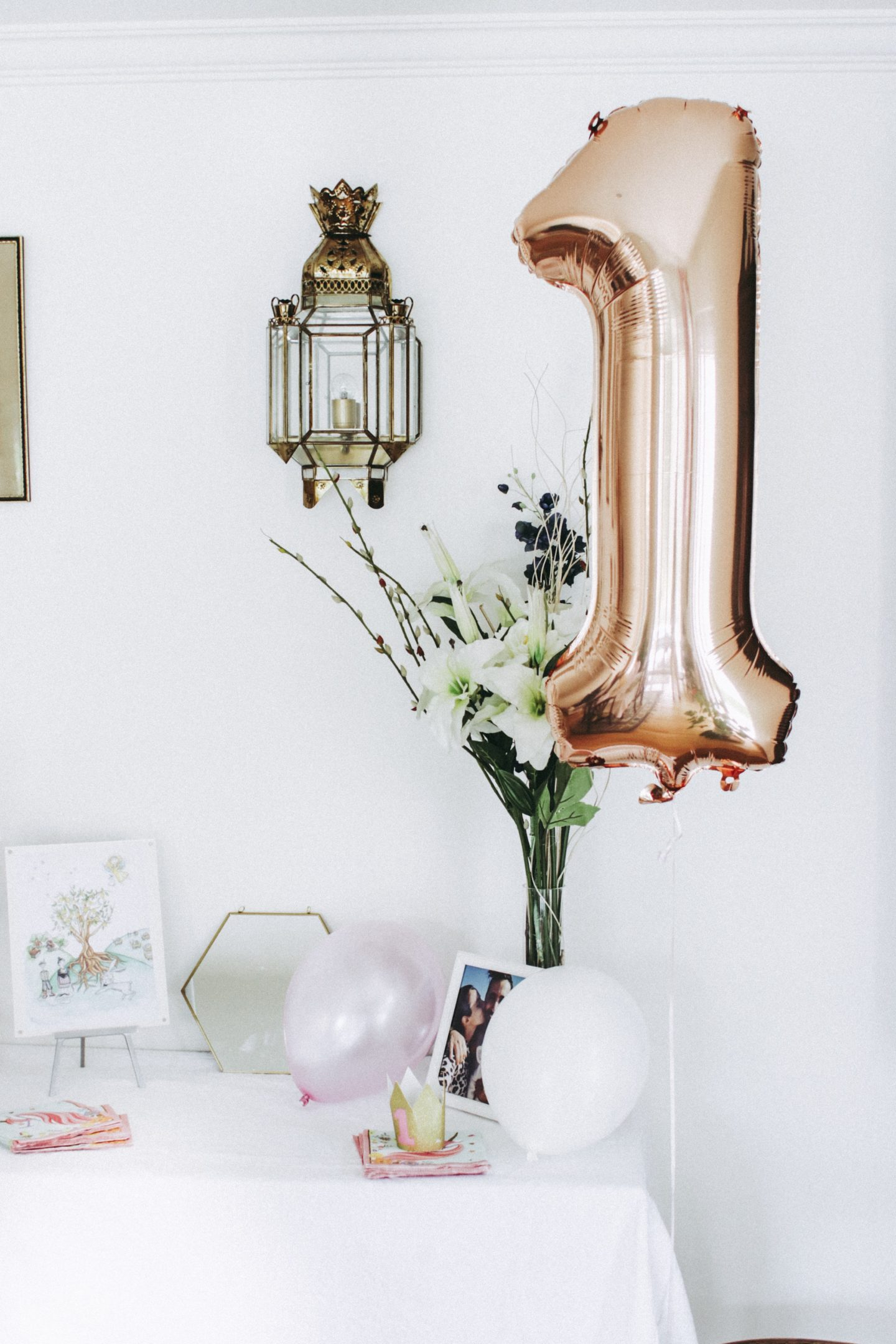 Zoe's First Birthday Party, themed pink, gold and white! Balloon decorations! - thecasualfree.com