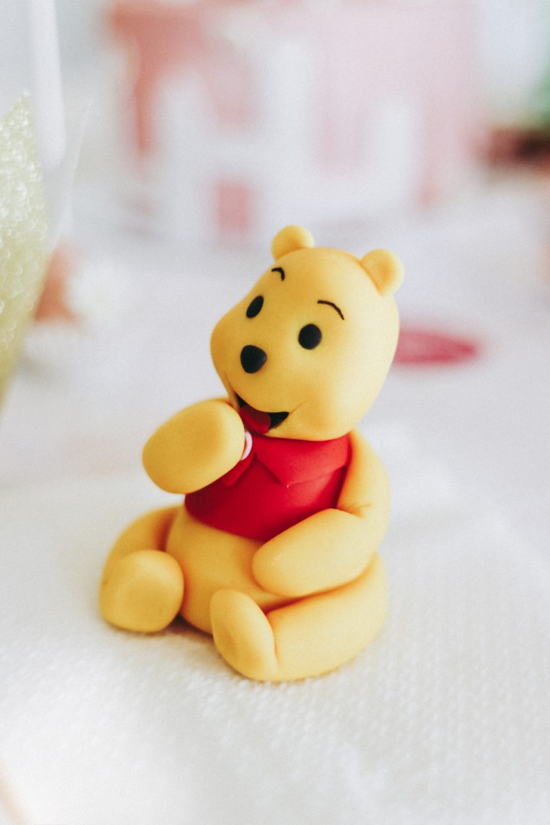 Zoe's First Birthday Party, themed pink, gold and white! Winnie-The-Pooh cake topper - thecasualfree.com
