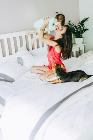 The Casual Free: 5 Ways To Get More Sleep With A Toddler - Family with Baby and Dog - thecasualfree.com