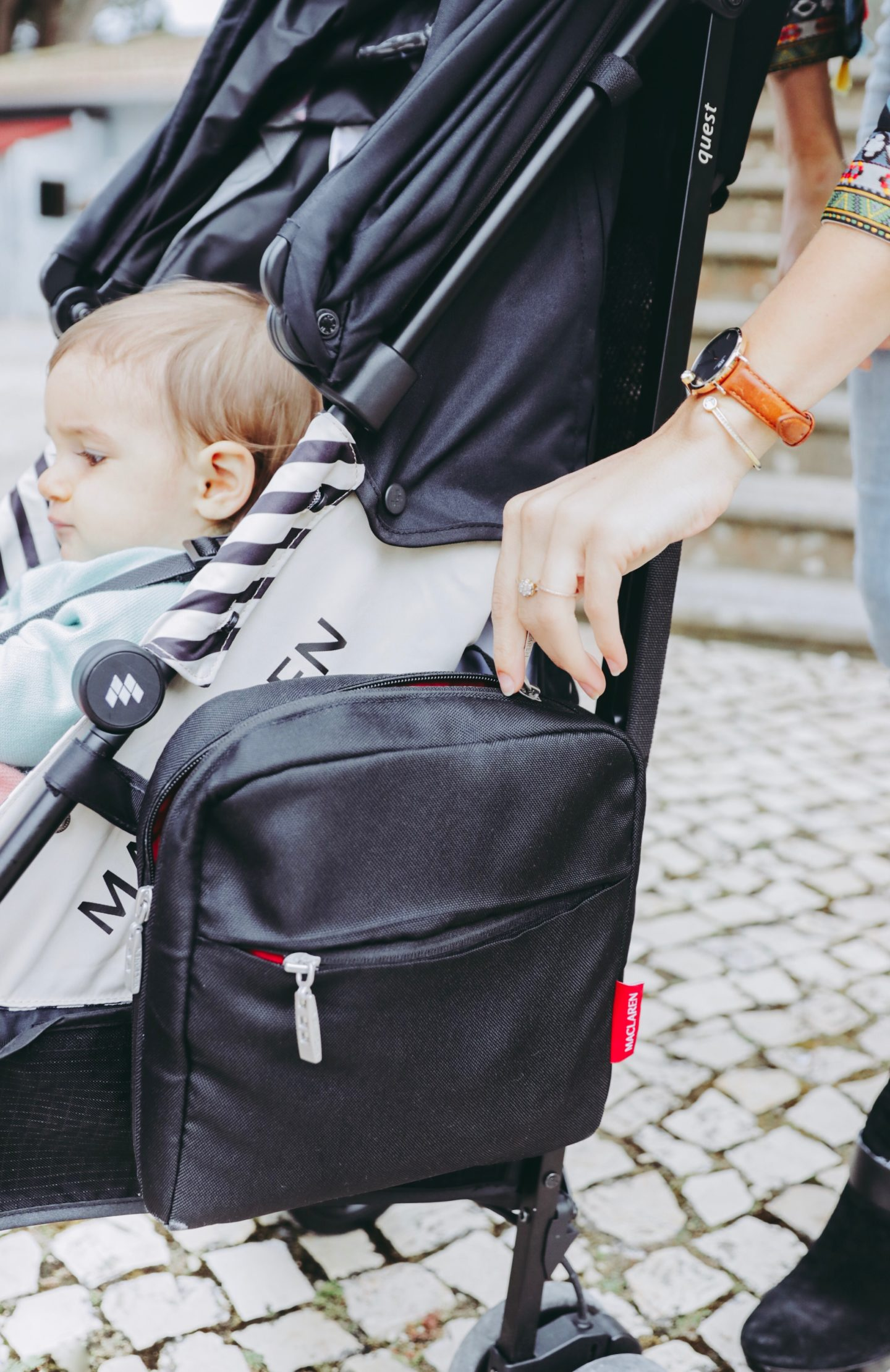 Why You Need A Lightweight Stroller In Your Life - Accessories Velcro Lunch Bag Maclaren Quest stroller - thecasualfree.com