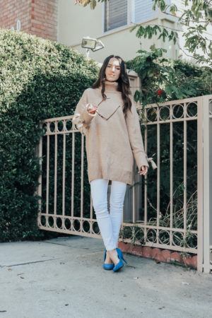 4 Sweater Weather Outfit Ideas - Zara Oversized Sweater with Bow Detail - thecasualfree.com