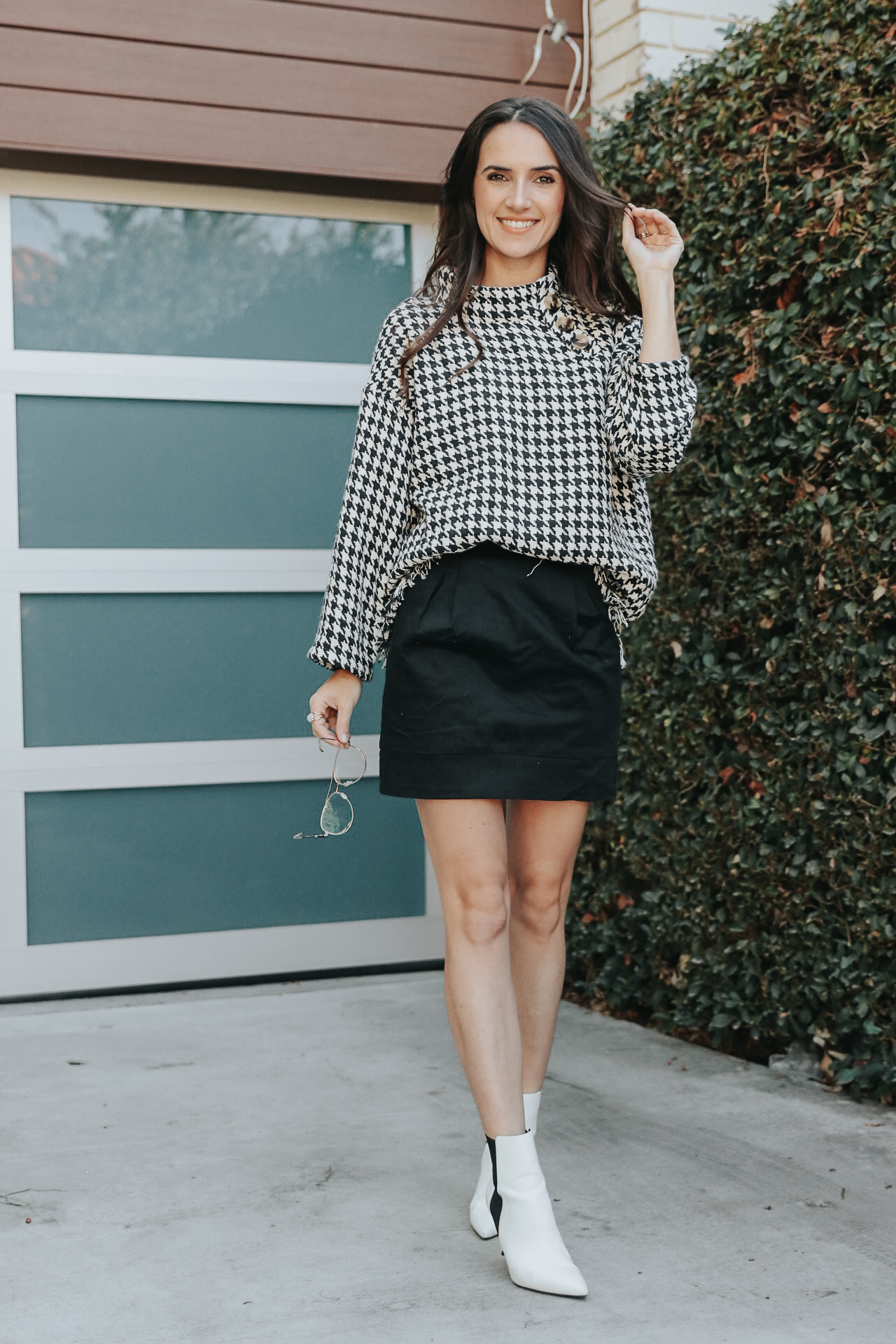 4 Sweater Weather Ideas - Zara Houndstooth Tweed Poncho Sweater - thecasualfree.com