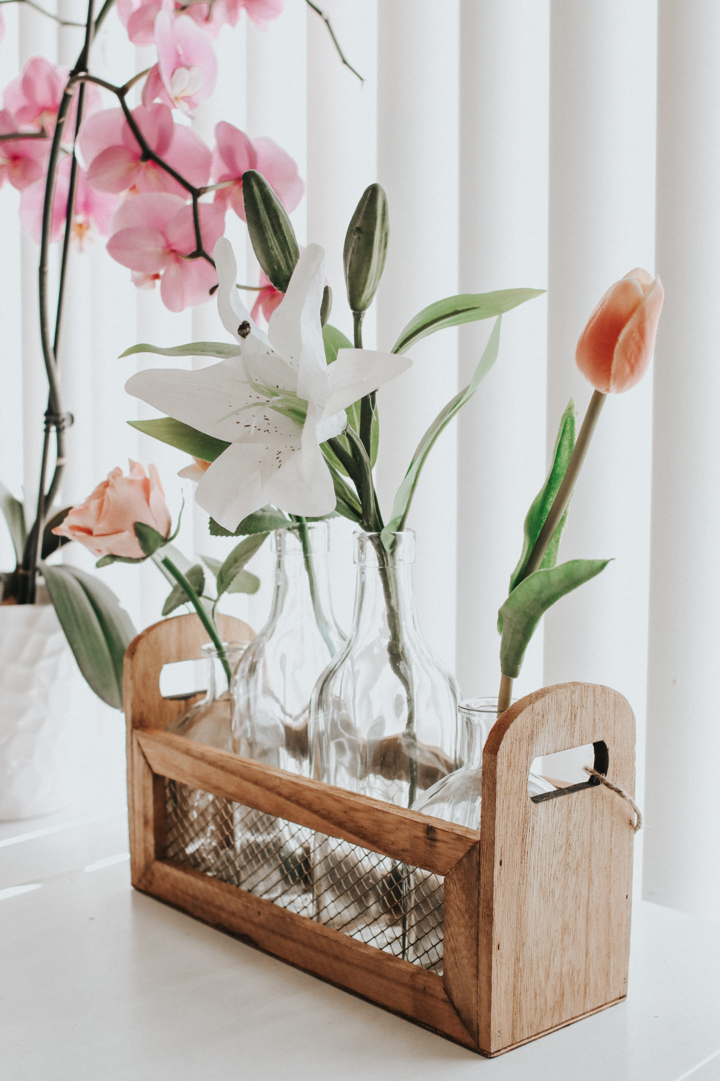 Spring Decor Inspiration: Farmhouse Accents - Stage Stores Home Decor Wood and Glass bottle rack - thecasualfree.com