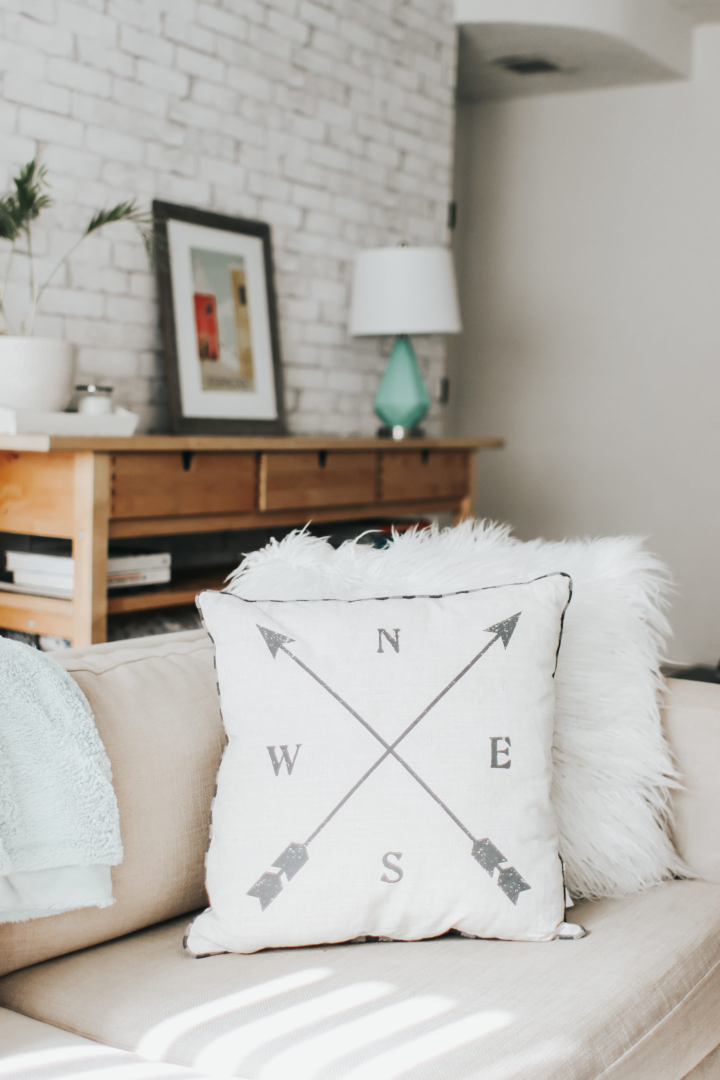 Spring Decor Inspiration: Farmhouse Accents - Stage Stores Home Decor Compass Pillow - thecasualfree.com