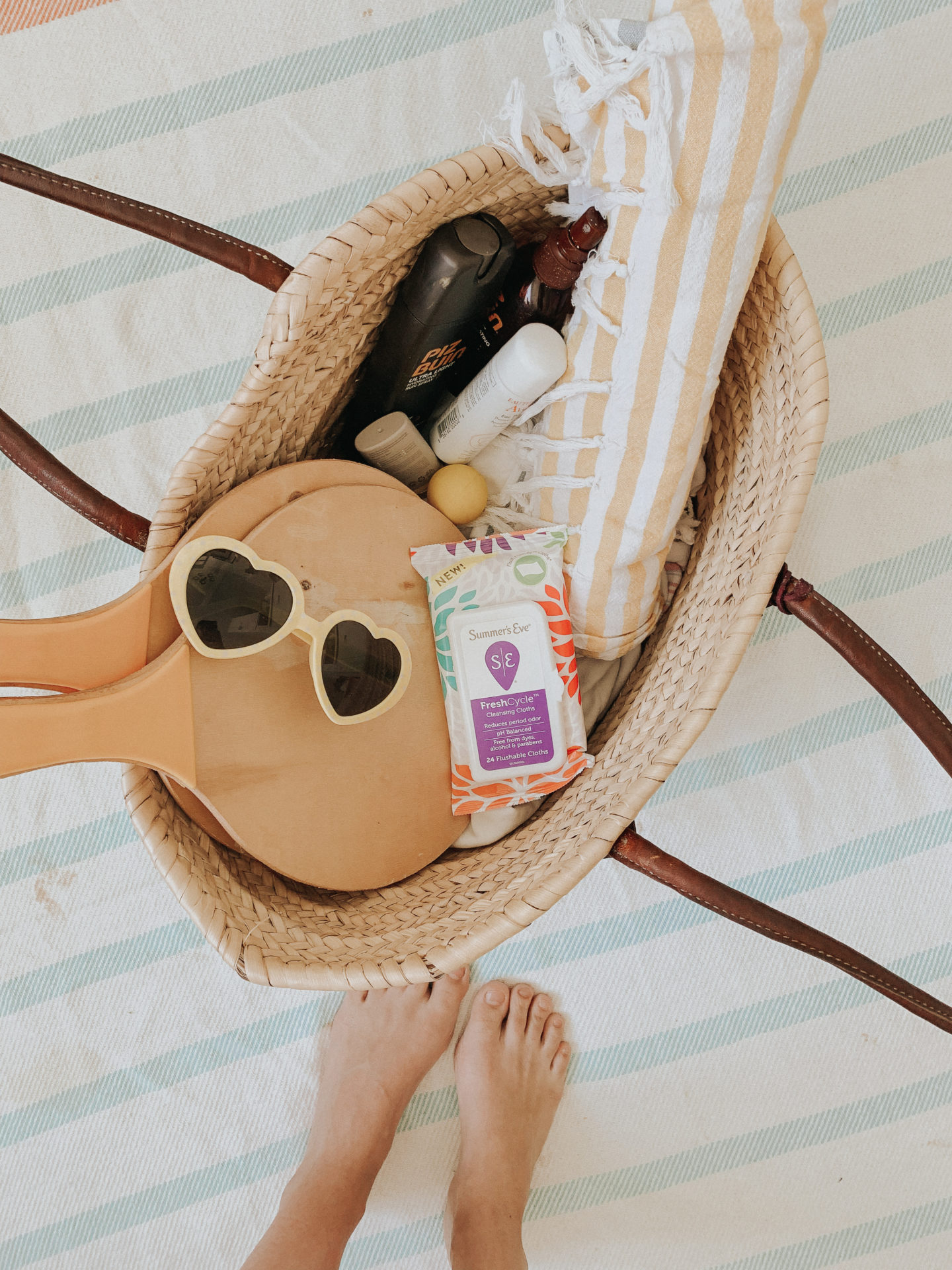 Summers Eve FreshCycle Cleansing Cloths in my beach bag!