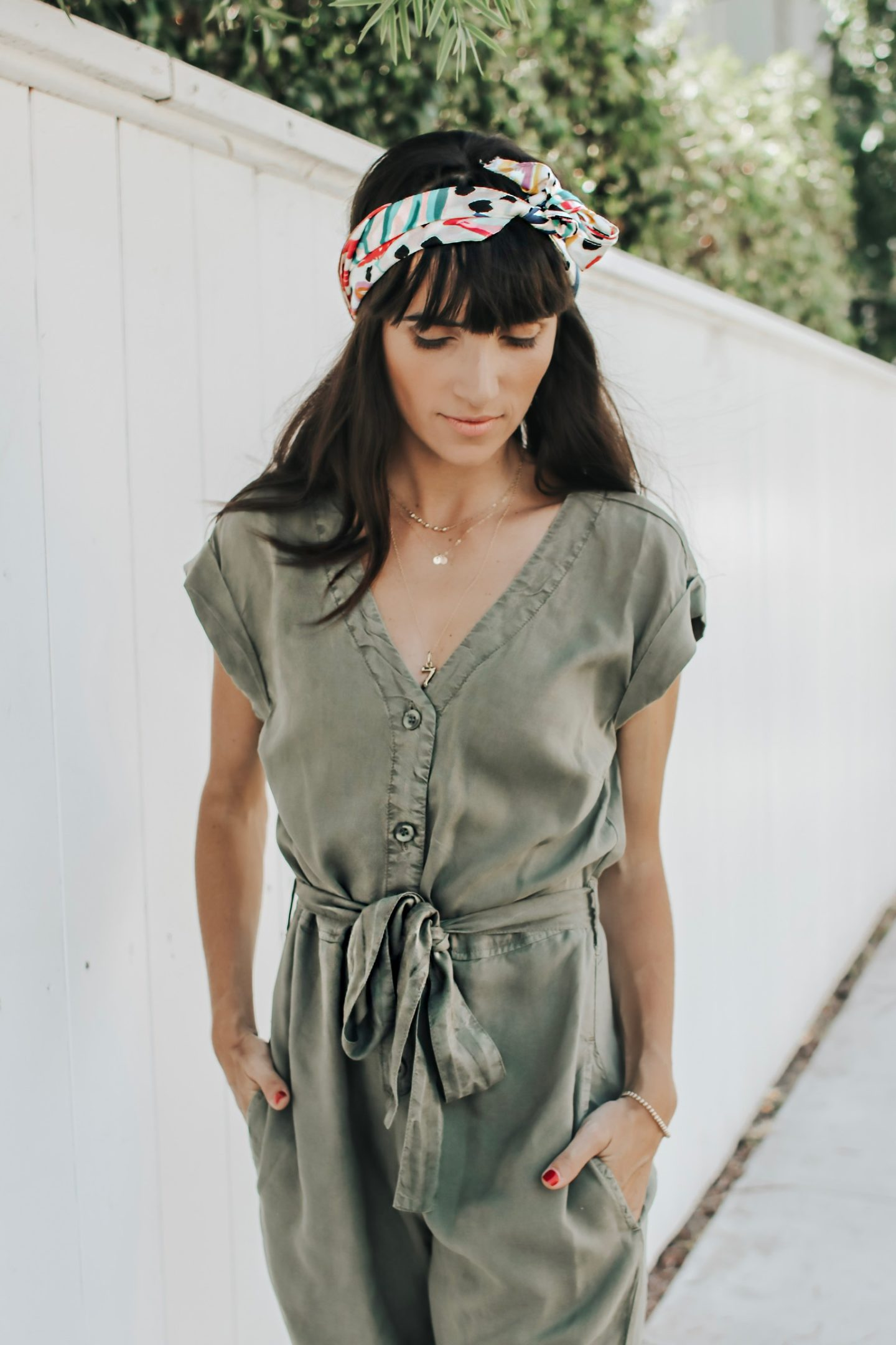 The Perfect Fall Transition Piece - Bella Dahl Cap Sleeve Jumpsuit with colorful head band - thecasualfree.com