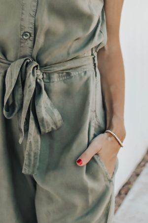 The Perfect Fall Transition Piece - Bella Dahl Cap Sleeve Jumpsuit bow and button detail - thecasualfree.com
