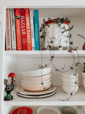 Kitchen DIY Open Cabinets - String Of Hearts Plant